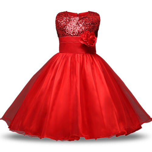 Kids Baby Flower Girls Party Sequins Dress Formal Bridesmaid Dresses Age 6M-8Y