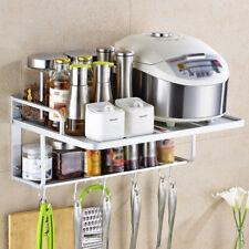 Aluminum Microwave Oven Bracket Wall Mounted Kitchen Rack 2 Tiers Shelf Storage