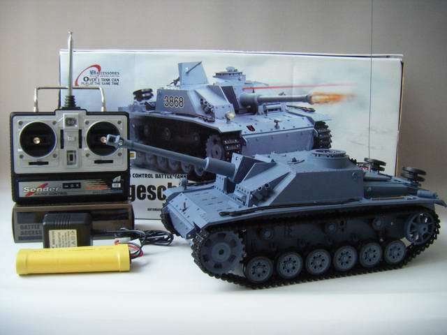 Heng Long radio control Infra Red RC IR tank Stug III  1 16 Smoking  Sounding UK