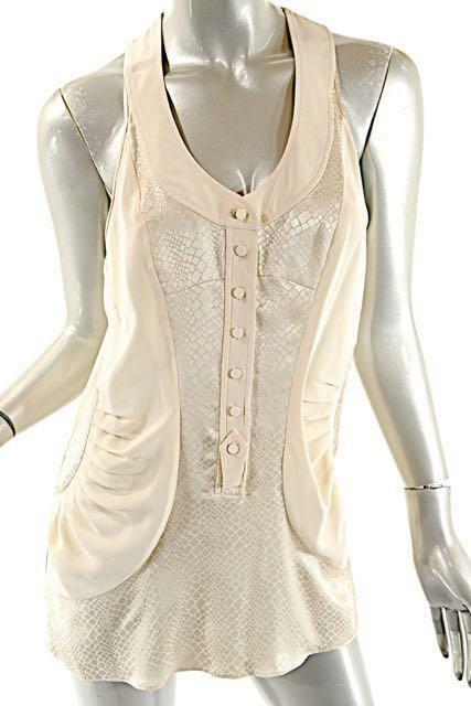 BALENCIAGA SILK Ivory Long Tank Top Snake Embossed Button Front - 38 US6