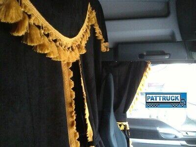 BLACK WITH GOLD TASSELS FIT MAN XXL CAB TRUCK CURTAINS FULL SET