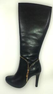 scarpe da ginnastica a buon mercato bb37d 78c1d Dettagli su Stivali Neri Primadonna tacco alto + plateau taglia 39 eco pelle