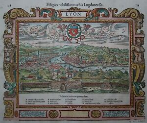 Lyon-sebastian Münster 1550-origine Gravure Sur Bois-rare Woodcut View-afficher Le Titre D'origine Jwc05ixk-10112528-377353751
