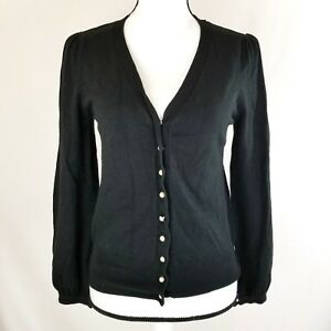 fcb9e935d13 George Womens Cardigan Sweater Size Small 4 6 Black V-Neck Pearl ...