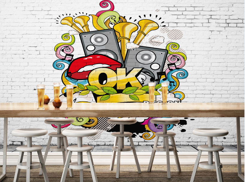 3D 3D 3D Letter ROT Lips Graffiti Paper Wall Print Wall Decal Wall Deco Indoor Murals d2195f