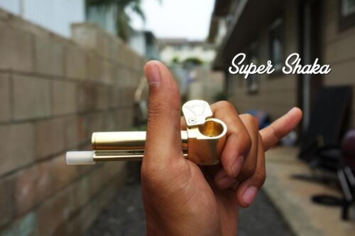 Super Shaka Brass Smoking Pipe Unique All-in-One Improved Proto Pipe Made in USA