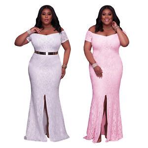 Plus-Size-Women-Fashion-White-Pink-Off-Shoulder-Lace-Gown-Party-Cocktail-Dress