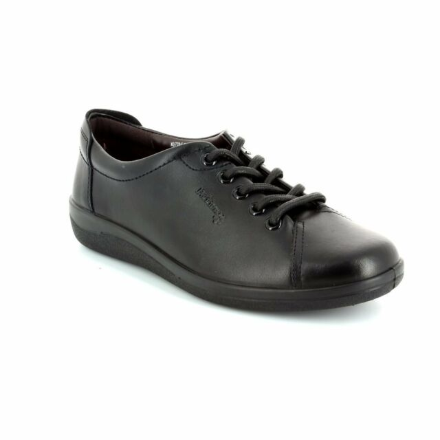 c8e9e9cbb7db Padders GALAXY Womens Soft Black Leather Wide E Fit Office Comfort Lace Up  Shoes