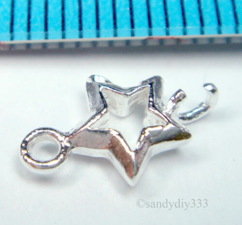 4x BRIGHT STERLING SILVER STAR CHANDELIER CONNECTOR SPACER BEAD 6.8mm #1344