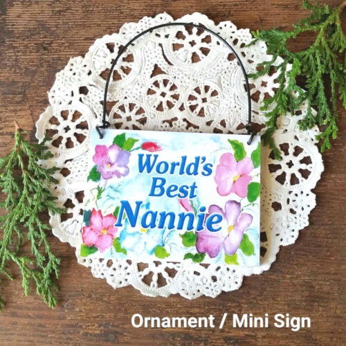 DECO Mini Sign Plaque Best NANNIE Wood Ornament  Family Gift Everyday Decor USA