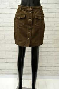Gonna-MOSCHINO-Donna-Taglia-Size-44-Shorts-Skirt-Woman-Vita-Alta-Marrone-Corto