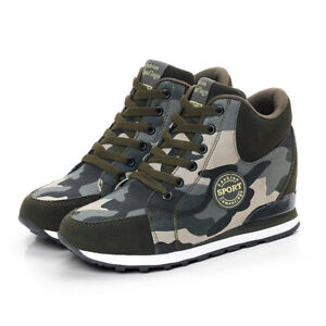 Womens-Wedge-Camouflage-Lace-Up-Sneakers-High-Top-Ankle-Boots-Shoes-New-2019
