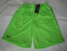 New UNDER ARMOUR Large Mens Green w Gray Logo & Stripe Athletic Shorts NWT