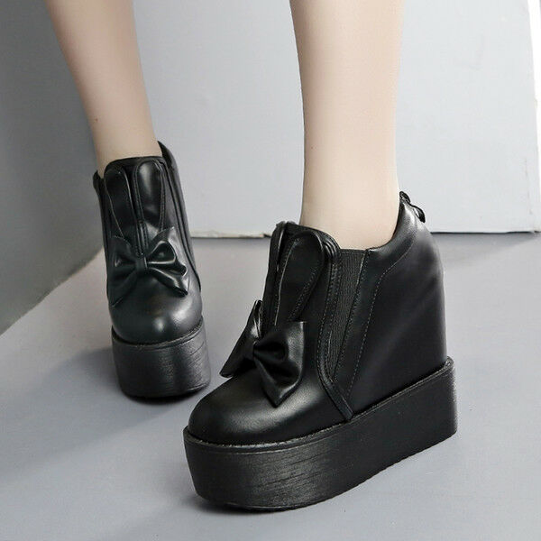 Stiefel Keilabsätze 13 cm Komfortabel Schwarz Platform Plateau