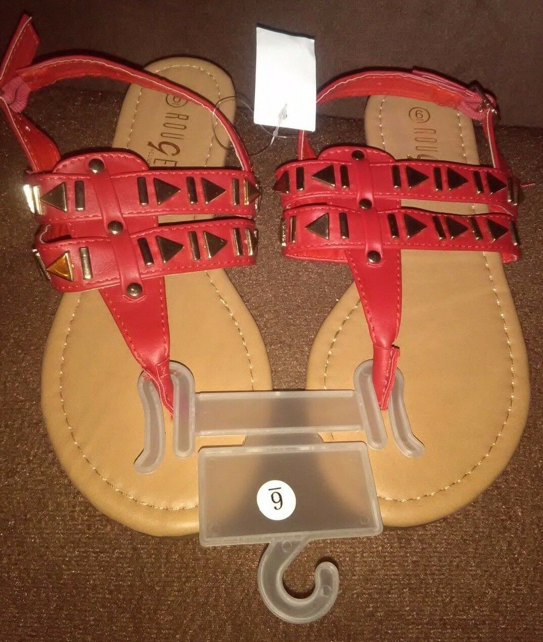 Man/Woman New Rouge U.S. Helium Red T-Strap Sandals U.S. Rouge Size 7 Guarantee quality and quantity Optimal price fine HV323 cefcd1