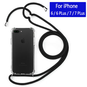For-iPhone-6-7-8-Plus-Silicone-Soft-Clear-TPU-Case-Skin-With-Neck-Lanyard-Strap
