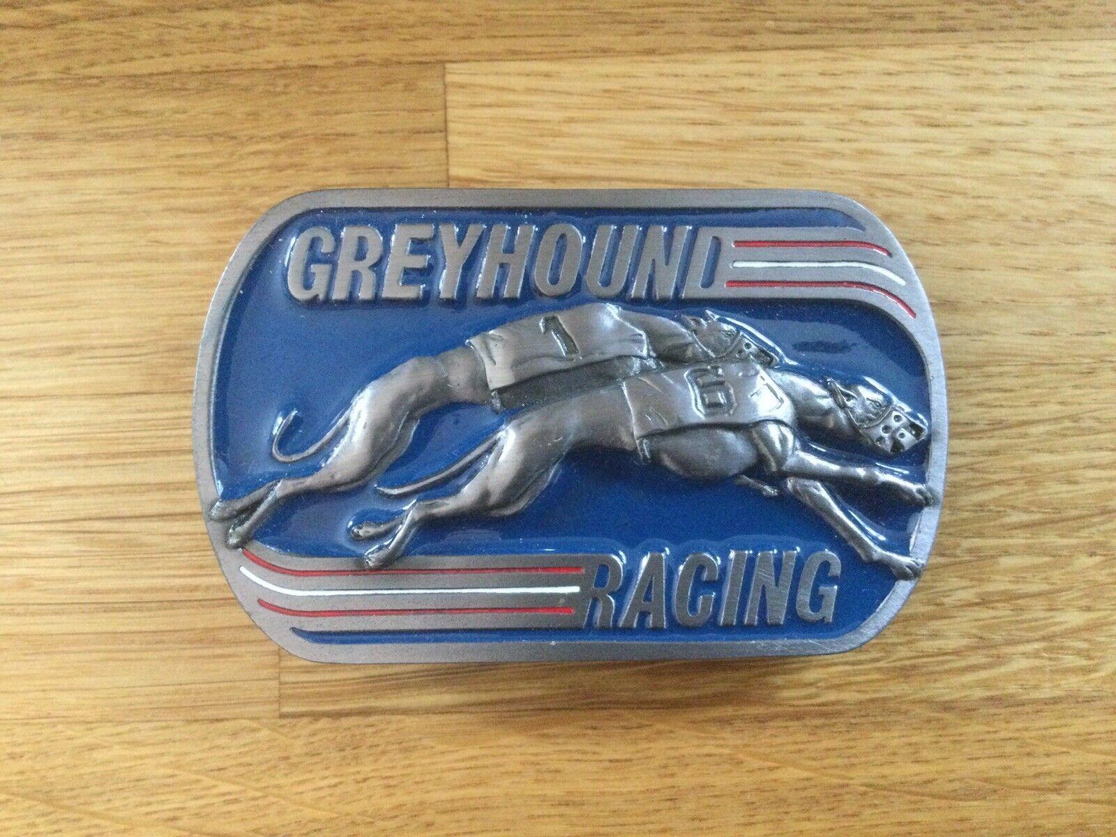 "Greyhound Racing Belt Buckle Made in U.S.A. 1990 ""Dog Racing"""
