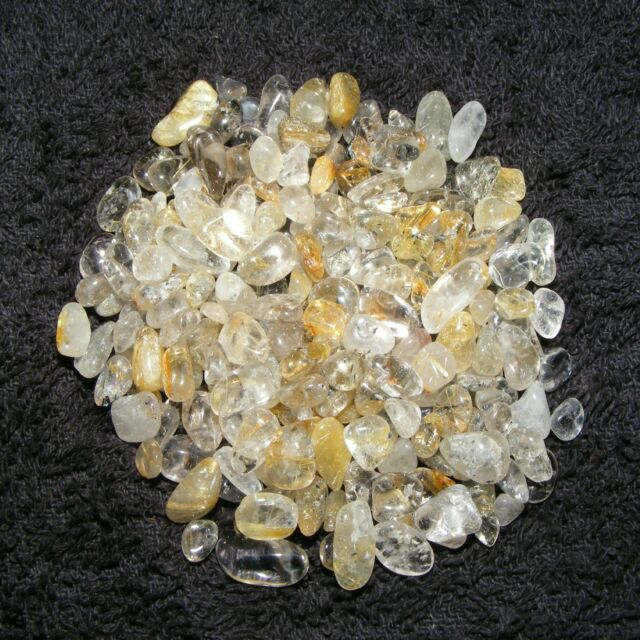 200 x Rutilated Quartz Mini Tumblestones 4mm-9mm Crystal Gemstone Wholesale