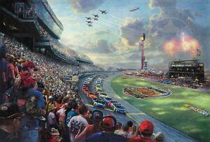 Thomas-Kinkade-NASCAR-THUNDER-DAYTONA-Limited-Edition-Canvas-18X27-R-E-SIGNED