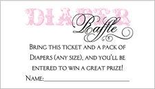 20 Diaper Raffle Tickets - Girl Baby Shower Invitation Insert
