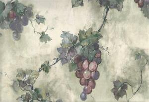 Wallpaper-Purple-Plum-amp-Green-Grapevine-Grapes-on-Green-amp-Cream-Tuscan-Faux