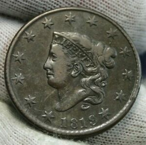 1819 Penny Coronet Large Cent - Nice Coin, Free Shipping  (9981)