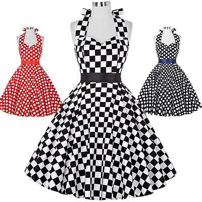 Polka Dots Halter Swing Pin Up 50s Vintage Party Evening Dress Short Homecoming