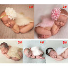 Infant Baby Feather Pearl Flower Headband Angel Wings Photo Prop Birthday Party