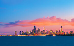 CHICAGO-SKYLINE-EVENING-SUNSET-NEW-A1-CANVAS-PRINT-POSTER-FRAMED-33-1-034-x23-4-034