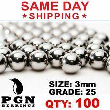 100 Qty 3mm G25 Precision Chrome Steel Bearing Balls Chromium Aisi 52100