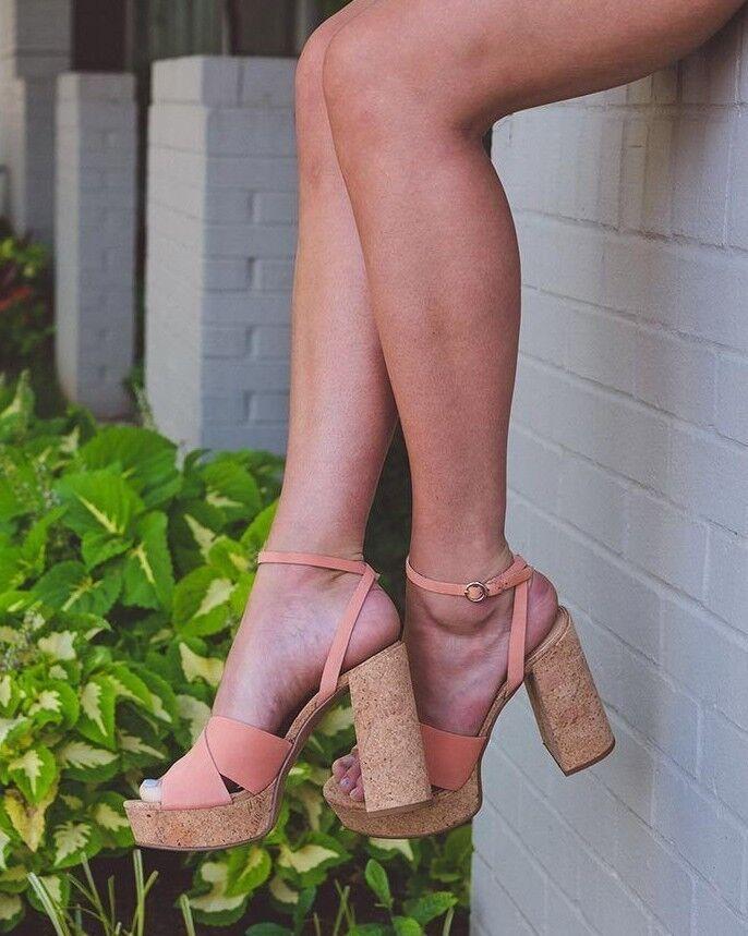 ALDO RIVALGO SIZE 4 37 WEISS BLOCK CORK HEEL REAL LEATHER SANDALS Schuhe BNWB
