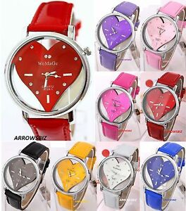 New-Ladies-Heart-Shape-Analog-Wrist-Watch-Leather-Strap-Quartz-Various-Colours