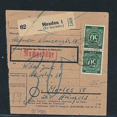 Ab Paketkarte Menden 1 480pf Mif Mit 3m Taube kr Iserlohn RüCksichtsvoll 03387