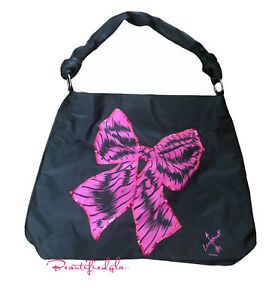 LOVESTRUCK by VERA WANG Women's tote bag Black and Pink Bow Print, BN