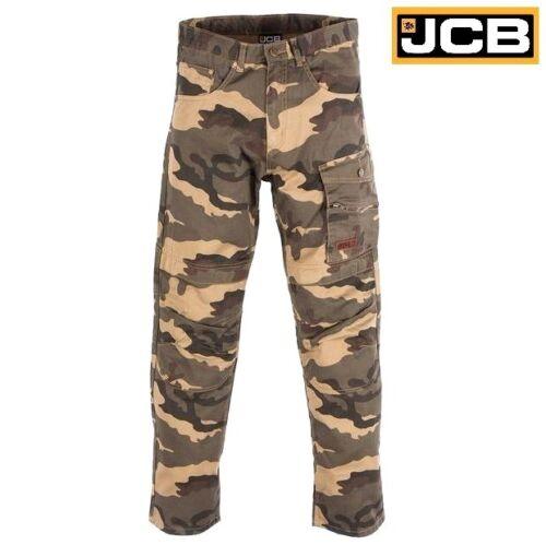 Da Uomo JCB Camouflage Mimetico Pantaloni da Lavoro in Cotone con Tasconi Combat Ginocchio Pad Tasche Taglia