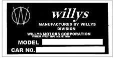 1935 1936 1937 1938 1939 1940  WILLYS CAR TRUCK INFO  PLATE STREET ROD RAT ROD