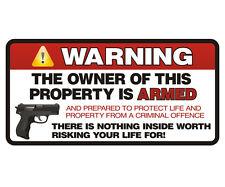 "Owner is Armed Warning 2nd Amendment Guns Firearm Sticker Decal 3""x6"""