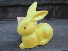 INO SCHALLER YELLOW GLITTER EASTER BUNNY RABBIT FIGURE MADE GERMANY NWT SPRING