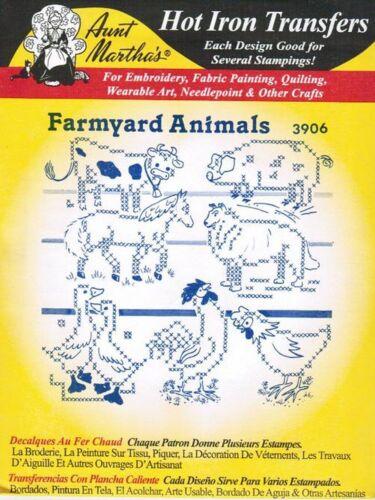 Farmyard Animals Aunt Martha/'s Hot Iron Cross stitch Embroidery Transfer #3906