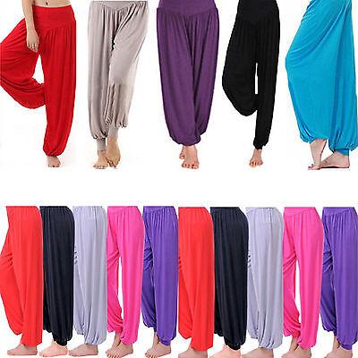 Obligatorisch Womens Plain Harem Trousers Pants Ali Baba Leggings Baggy Aladin Boho Hippy 8-26 Kunden Zuerst
