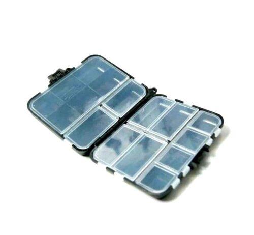 Angelbox zweiseitig mit Fächer für Karabiner Bleie Wirbel Haken Zubehör Angeln
