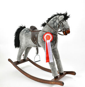 Beautiful-Handmade-Rocking-Horse-DAPPLE-GREY-Schaukelpferd-cheval-a-bascule