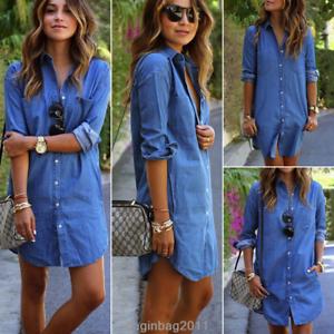 Damen-Jeanskleid-Hemdkleider-Langarm-Minikleid-Longshirt-Denim-Tunika-Gr-34-44