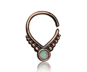 ORNATE FAKE CHEATER 16G BRASS HANGING SEPTUM RING NOSE TURQUOISE STONE SEPTUMS