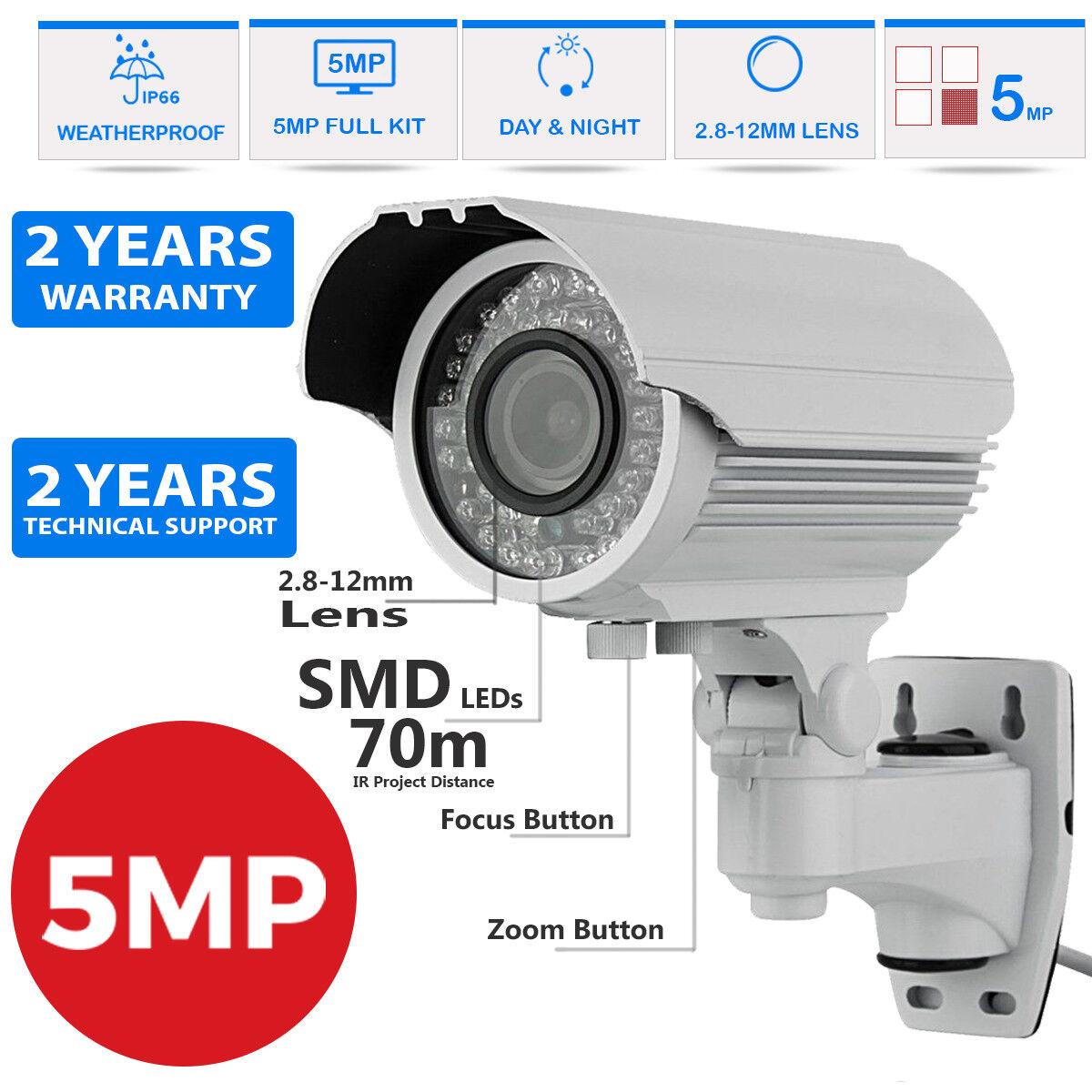 HD TVI 1960p 5mp progresivas 2.8-12mm Bala Cctv Visión Nocturna Cámara Seguridad