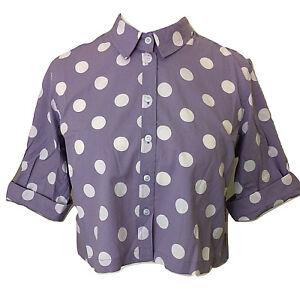 Womens-TOPSHOP-Light-Purple-Spotty-Roll-Sleeve-Crop-Top-UK-Size-6-8-10-12