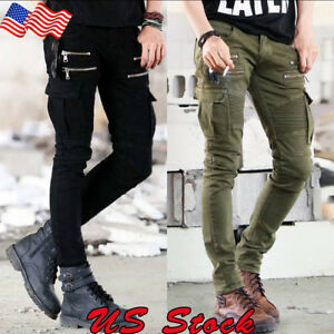 Men-039-s-Slim-Fit-Urban-Straight-Leg-Trousers-Casual-Pencil-Jogger-Cargo-Pants