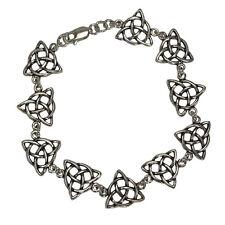 "Sterling Silver Celtic Triquetra Knotwork Bracelet (6"") Trinity Knot Jewelry"