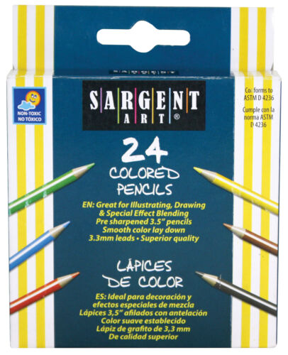 3.5 in Sargent Art Half-Size Colored Pencils 24 count