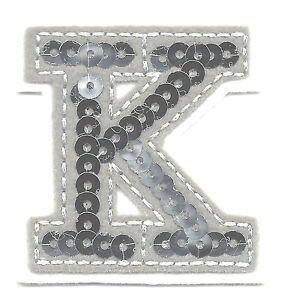 letter appliques iron on letters silver sequin 2 quot letter quot k quot iron on 8205